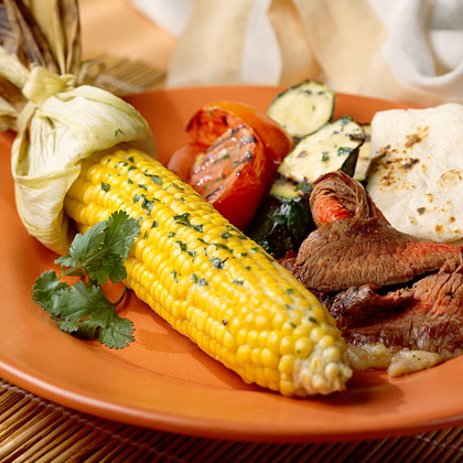 Grilled Vegetables with Cilantro Butter