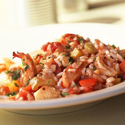 Peppered Chicken-and-Shrimp Jambalaya