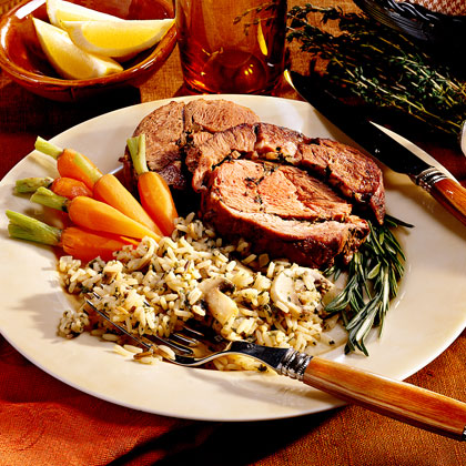 Garlic-and-Herb Stuffed Leg of Lamb