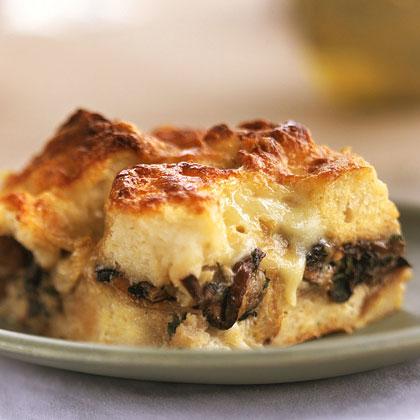 Double-Mushroom Bread Pudding Recipe | MyRecipes