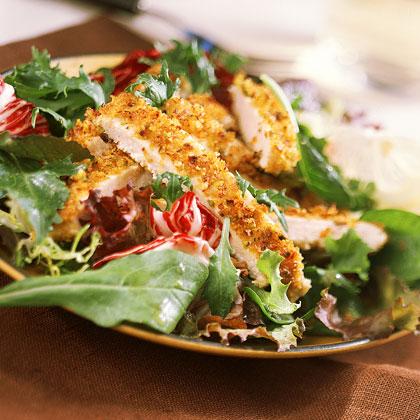 Sliced Lemon-Pistachio Chicken Over Greens