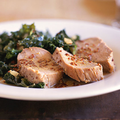Honey-Mustard Pork Tenderloin with Kale