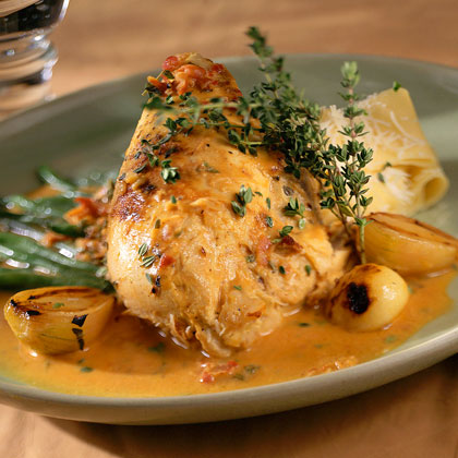 Chicken in Mustard with Beans, Garlic, And Mascarpone Cheese