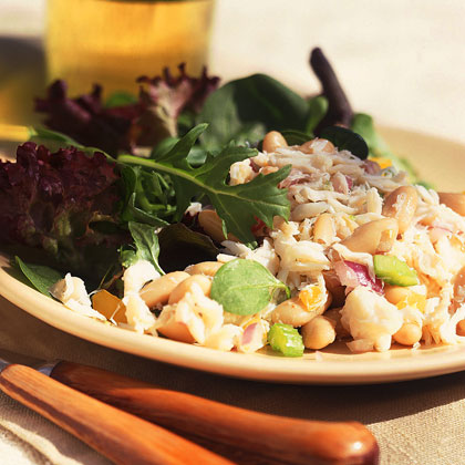 Crab Salad with White Beans and Gourmet Greens