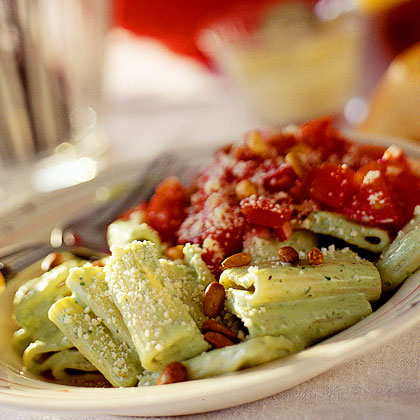 Creamy Pesto Rigatoni with Chunky Tomato Vinaigrette