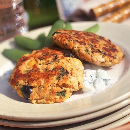 Mediterranean Salmon Cakes with Cucumber SauceRecipe