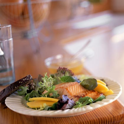 Salmon on Greens with Lime-Ginger Dressing