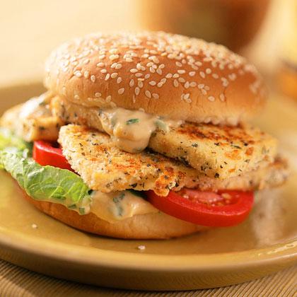 Parmesan-Herb Crusted Tofu Sandwich