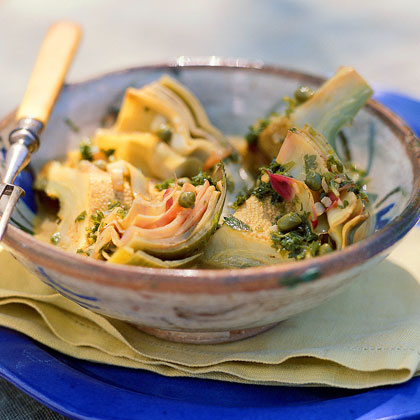 Braised Artichokes with Capers and Parsley Recipe | MyRecipes.com