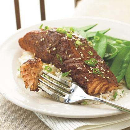 Grilled Salmon with East-West Spice Rub and Orange-Soy GlazeRecipe