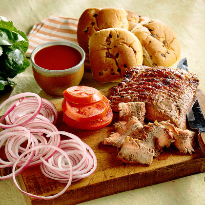 Flank Steak Sandwiches with Apple Barbecue Sauce