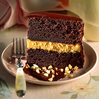 Who wants an ordinary chocolate cake when you could have this rich, peanut butter, mousse-filled cake instead? Grab a plate and a fork!Chocolate-Peanut Butter Mousse Cake Recipe