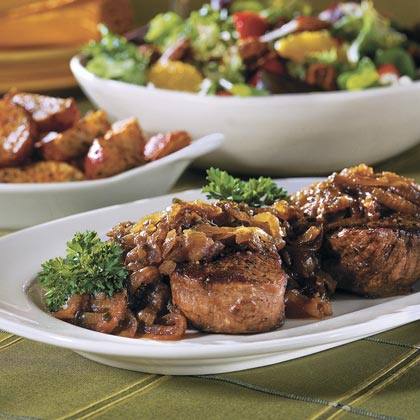 Beef Fillets with Cognac-Onion Sauce