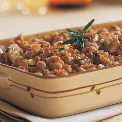 Navy Bean-and-Artichoke Casserole with Goat CheeseRecipe