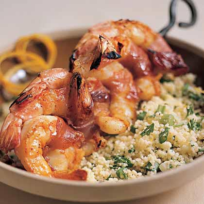 Prosciutto-Wrapped Shrimp with Lemon Couscous Recipe