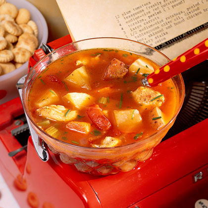 Chicken-and-Roasted Vegetable Chowder Recipe | MyRecipes