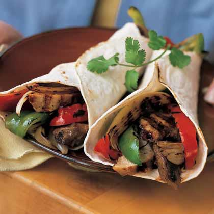 Beef-and-Chicken Fajitas with Peppers and Onions