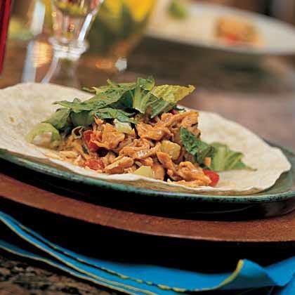Ginger-Peanut Chicken-Salad Wraps