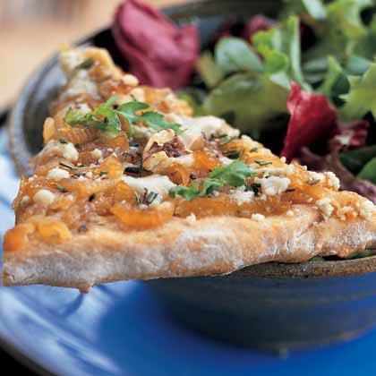Caramelized Onion Pizza with Gorgonzola and Arugula