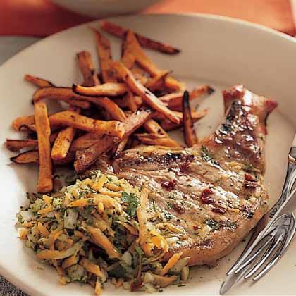 Chipotle-Marinated Pork Chops with Chimichurri Sauce