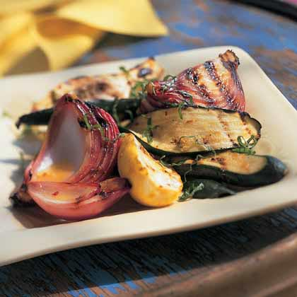Grilled Zucchini-and-Summer Squash Salad with Citrus Splash Dressing Recipe