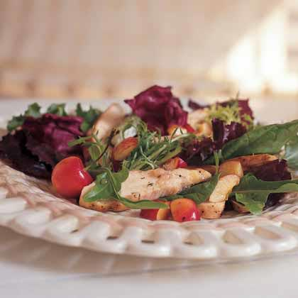 Grilled Chicken Salad With Cherries RecipeWith their delicate yellow-red blush, the highly prized Rainier cherries are a sight to behold in this salad of grilled chicken breast and mixed greens. If you're short on time, substitute rotisserie chicken and buy bottled vinaigrette.