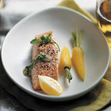Steamed Salmon with Watercress Sauce Recipe