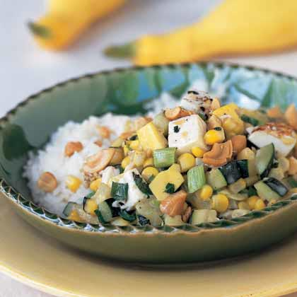 Thai Summer Squash and Tofu with Fresh Corn
