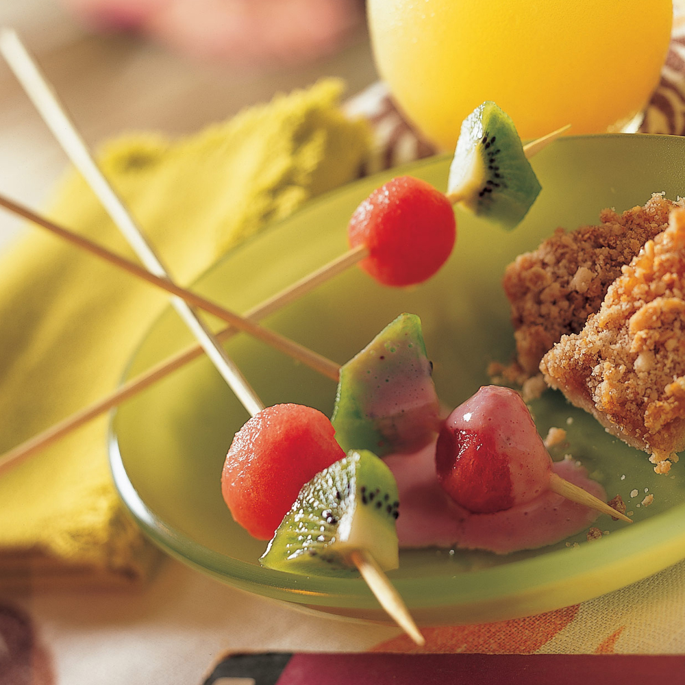 Watermelon-and-Kiwi Skewers with Starry Strawberry CreamRecipe