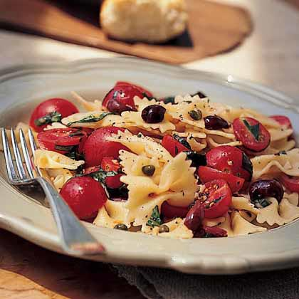 Bow Tie Pasta With Cherry Tomatoes Capers Basil Recipe