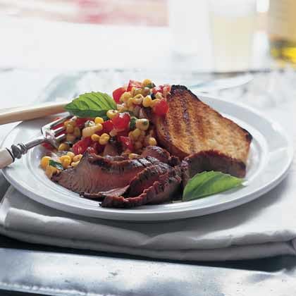 Flank Steak With Corn-Tomato Relish and Grilled Garlic Bread