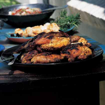Grilled Cornish Hens with Honey Mustard-Cilantro Glaze