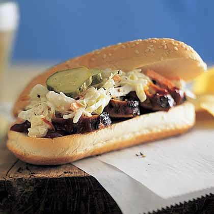 Barbecue Pork-and-Coleslaw HoagiesRecipe