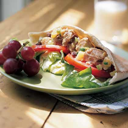 Fruity Tuna-Salad Pita Sandwiches RecipePitas are perfect for brown bag lunches. Stuff them with tuna salad, fruits, and veggies, and this 5-star recipe will be a 5-star hit in your family, too.