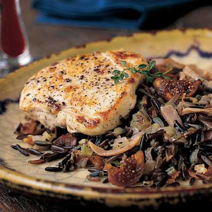 Chicken Breasts with Wild Rice-and-Fig PilafRecipe