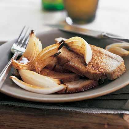 Honey-Cumin Roasted Pork with Caramelized Onions Recipe