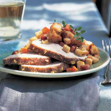 Apple-Glazed Pork Loin Roast with Apple-Ham Stuffing
