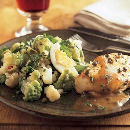 Cauliflower-and-Broccoflower Salad with Sherry Vinaigrette