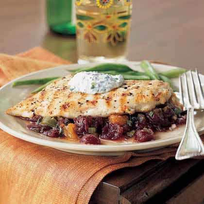 <p>Pan-Grilled Chicken with Cranberry Salsa</p>