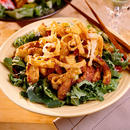 Hot Sesame Pork On Mixed Greens
