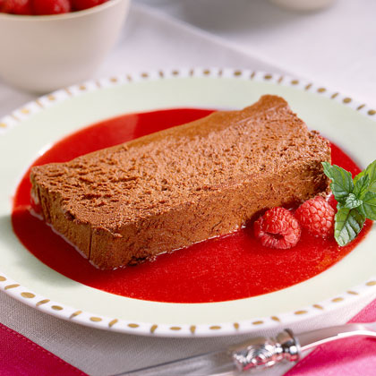 Chocolate Mousse Loaf with Raspberry Purée Recipe