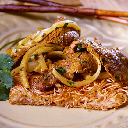 Noodle Cakes with Coconut-Beef Stir-Fry