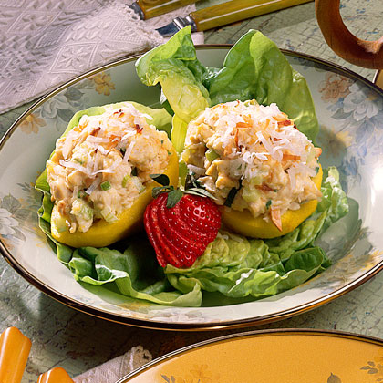 Curried Poached Pears with Coconut-Chicken Salad