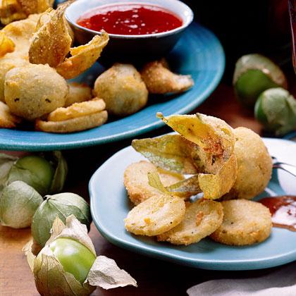 Fried Green Tomatillos with Jalapeño Dipping Sauce