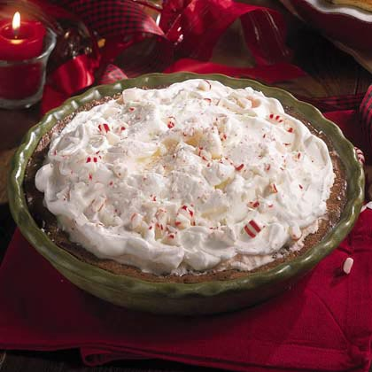 Fudgy Chocolate Malt-Peppermint Pie