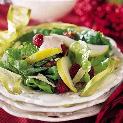Pear Salad with Raspberry Cream