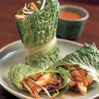 Wrap strips of cooked chicken, bean sprouts, carrot, and cucumber in lettuce leaves instead of rice paper wrappers for a colorful Asian-style first course. The peanut sauce will rival that of your favorite Thai restaurant.Chicken Lettuce Wraps with Peanut-Miso Sauce Recipe