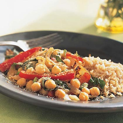 Chickpea, Red Pepper, and Basil SautéRecipe