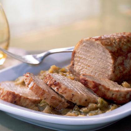 Lombo di Maiale Coi Porri (Pan-Roasted Pork Loin with Leeks)