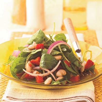 Arugula, White Bean, and Roasted Red Pepper Salad Recipe